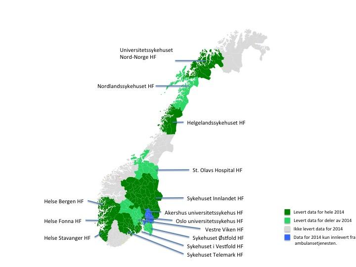Helseforetak som leverer data til Norsk hjertestansregister