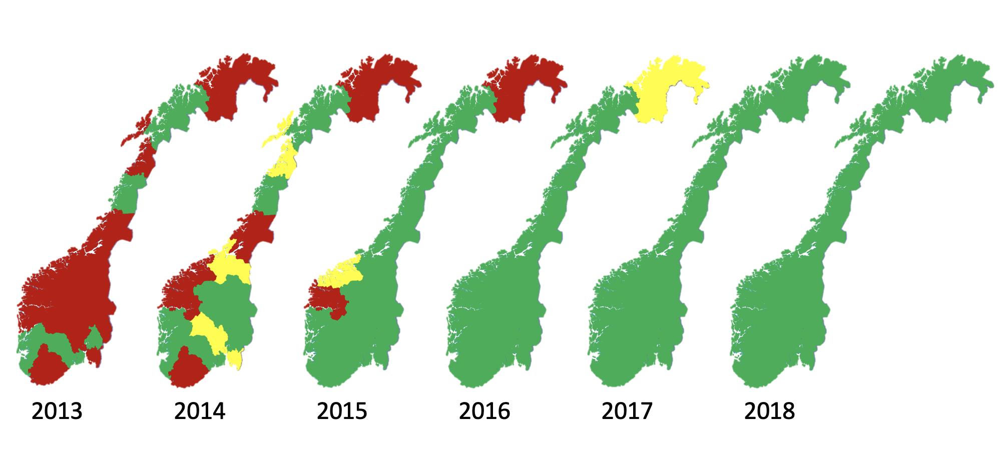 Ambulansetjenester som leverer data til Norsk hjertestansregister fra 2013 til 2018